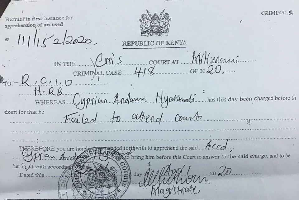 DCI booking sheet showing Cyprian Nyakundi violated the law.