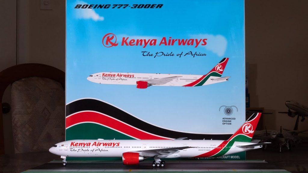 A Kenya Airways Boeing 777-300ER airliner.
