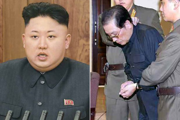 Jang Song Thaek in handcuffs before he was executed by Kim Jong Un in 2013.