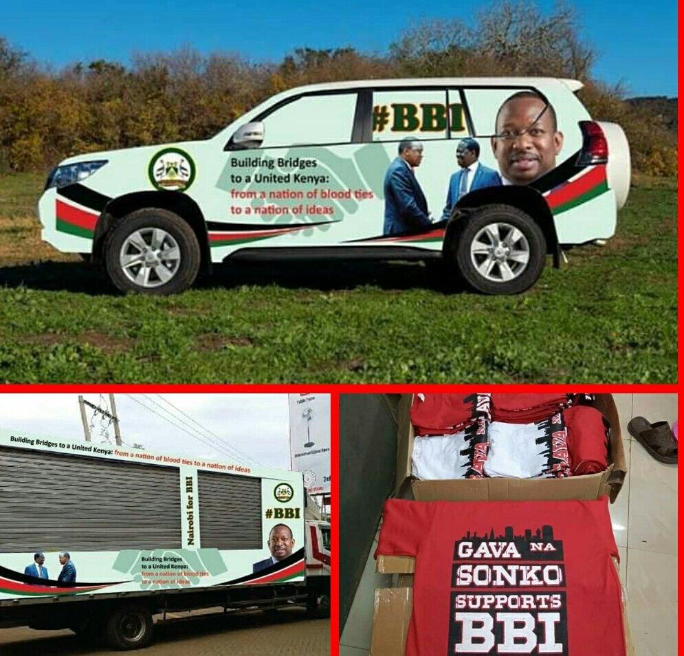 Sonko's Vehicles with BBI propaganda advertisements. Mike Mbuvi Sonko is a supporter of the BBI initiative.