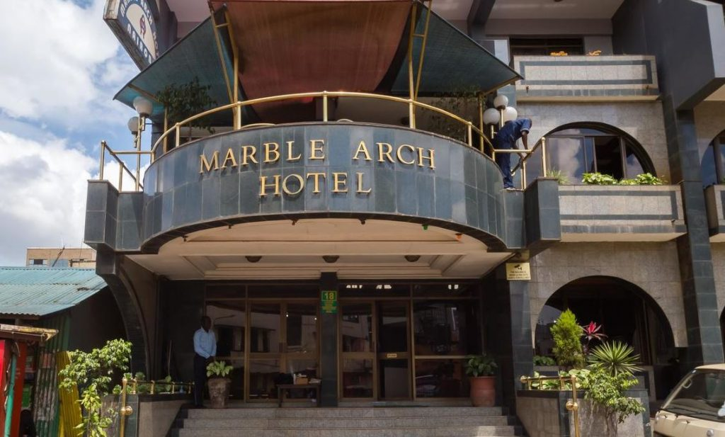 Front Entrance of a Marble Arch Hotel in Nairobi