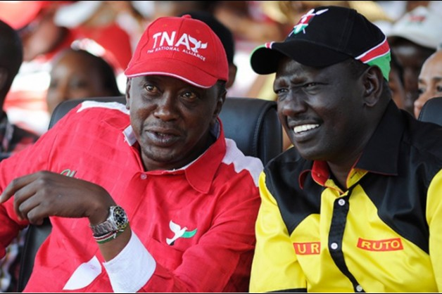 William Ruto and Uhuru Kenyatta Showing their TNA and URP party colors