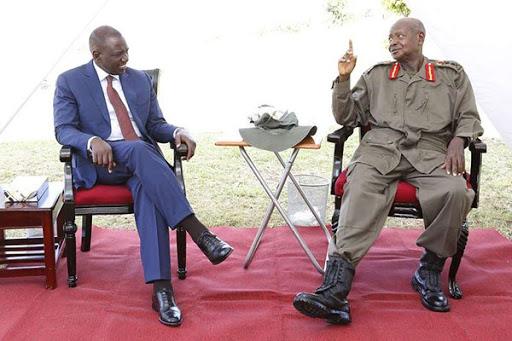Kenyan Deputy President William Ruto and Uganda President Yoweri Kaguta Museveni