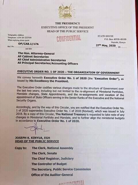 President Kenyatta's Executive Order