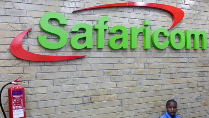 A Safaricom logo. Safaricom owns Mpesa. Mpesa rates waiver was extended by the Central Bank of Kenya until December 31, 2020.