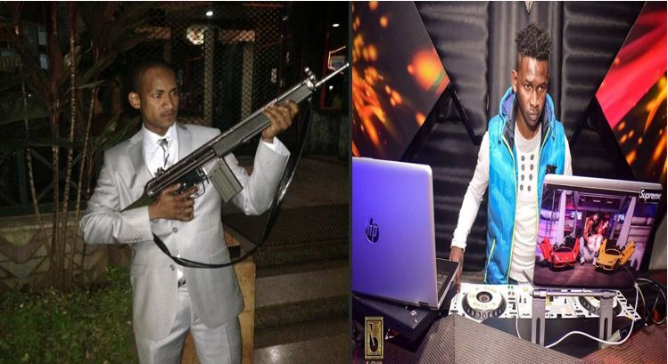 Babu Owino holding an AK-47 gun