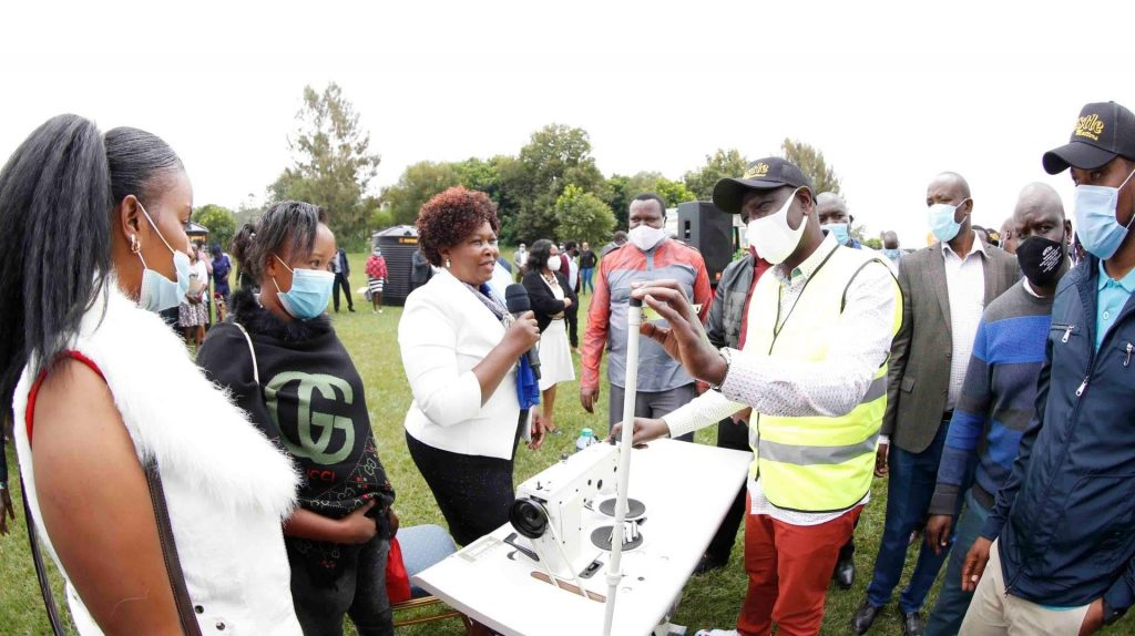 William Ruto donated a sewing machine.  Mr. Ruto partnered with Gatundo South MP Mr. Moses Kuria.