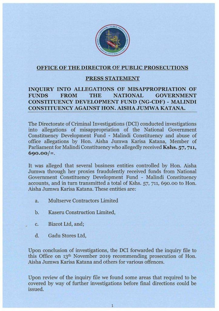 ODPP's document detailing a corruption racket involving Malindi MP Aisha Jumwa