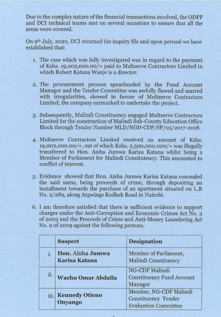 An Arrest Warrant paper authorizing the arrest of  Aisha Jumwa for Corruption Allegations
