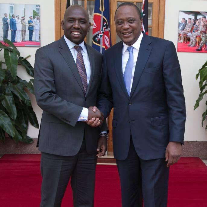 Elgeyo Marakwet Senator Kipchumba Murkomen (Left) and president Uhuru Kenyatta