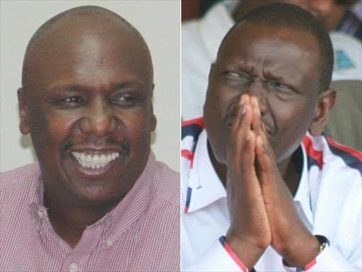 Baringo Senator Gideon Moi (left) and Deputy President William Ruto